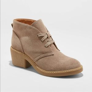 NEW Women's Lucia Taupe Microsuede Heeled Booties